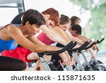 group of people cycling at gym | Shutterstock . vector #115871635