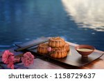 moon cake on the red background ... | Shutterstock . vector #1158729637