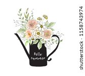watercolor and ink bouquet of... | Shutterstock . vector #1158743974
