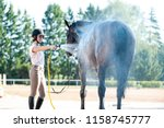 young teenage girl equestrian... | Shutterstock . vector #1158745777