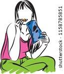 woman eating chips snack vector ... | Shutterstock .eps vector #1158785851