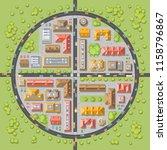 vector illustration. a city in... | Shutterstock .eps vector #1158796867