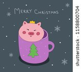 christmas card with cute piggie.... | Shutterstock .eps vector #1158800704