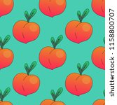seamless pattern with peaches.... | Shutterstock .eps vector #1158800707