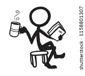 stick figure reading with coffee | Shutterstock .eps vector #1158801307