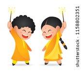 cute indian kids enjoying... | Shutterstock .eps vector #1158802351