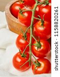 fresh red cherry tomatoes in... | Shutterstock . vector #1158820261