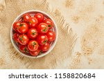 fresh red cherry tomatoes in... | Shutterstock . vector #1158820684