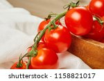 fresh red cherry tomatoes in... | Shutterstock . vector #1158821017