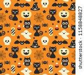 halloween holiday seamless... | Shutterstock .eps vector #1158848827