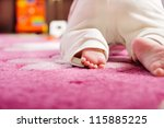 Cute Baby Crawling On Pink...
