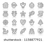 christmas gingerbread thin line ... | Shutterstock .eps vector #1158877921
