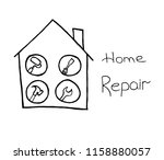home repair icon on white... | Shutterstock .eps vector #1158880057