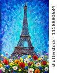eiffel tower  paris... | Shutterstock . vector #1158880684