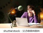 teenager with laptop doing... | Shutterstock . vector #1158884884