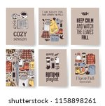 set of season cards with cozy... | Shutterstock .eps vector #1158898261