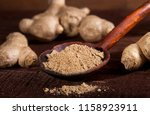 ginger root and ginger powder...   Shutterstock . vector #1158923911