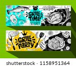 barbecue banner posters grilled ... | Shutterstock .eps vector #1158951364