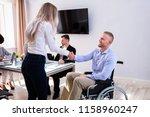 disabled happy businessman... | Shutterstock . vector #1158960247