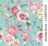 seamless pink vintage rose... | Shutterstock .eps vector #115897519