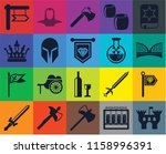 set of 20 icons such as castle  ...