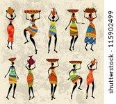 african woman on grunge... | Shutterstock .eps vector #115902499