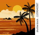 beautiful tropical sunset with... | Shutterstock .eps vector #1159040587
