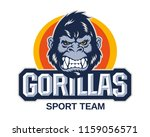 modern emblem gorilla face and... | Shutterstock .eps vector #1159056571