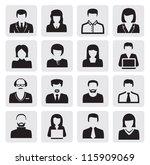 vector black avatar icons set... | Shutterstock .eps vector #115909069