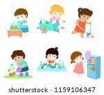 kids do housework vector... | Shutterstock .eps vector #1159106347