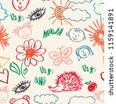 seamless pattern. draw pictures ... | Shutterstock .eps vector #1159141891
