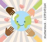 hands multiethnic world kawaii... | Shutterstock .eps vector #1159145164