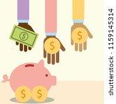 multiethnic hands with money... | Shutterstock .eps vector #1159145314