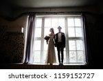 creative bride with dreadlocks... | Shutterstock . vector #1159152727