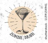halloween hand drawn cocktail...   Shutterstock .eps vector #1159154941