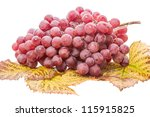 Red grapes on leaves. Isolated on white background - stock photo