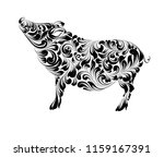 the contour of pig  chinese... | Shutterstock .eps vector #1159167391
