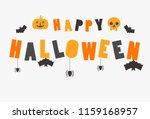 happy halloween text banner ... | Shutterstock .eps vector #1159168957