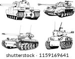 powerful tank with a gun drawn... | Shutterstock .eps vector #1159169641