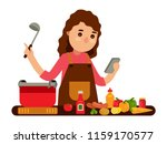 woman cooking while looking the ... | Shutterstock .eps vector #1159170577