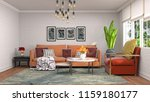 interior of the living room. 3d ... | Shutterstock . vector #1159180177