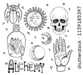 alchemy symbol icon set.... | Shutterstock .eps vector #1159185397