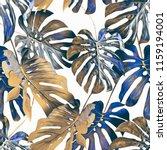 monstera leaves seamless... | Shutterstock . vector #1159194001