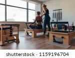 fitness women doing pilates... | Shutterstock . vector #1159196704