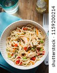 sweet chilli chicken pasta... | Shutterstock . vector #1159200214
