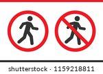 prohibition pedestrians sign  | Shutterstock .eps vector #1159218811