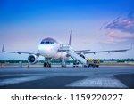 airplane getting prepared fo...   Shutterstock . vector #1159220227