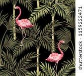 tropical vintage pink flamingo... | Shutterstock .eps vector #1159222471