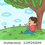 happy boy reading book under... | Shutterstock .eps vector #1159242694