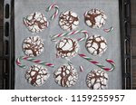 home baked peppermint and... | Shutterstock . vector #1159255957